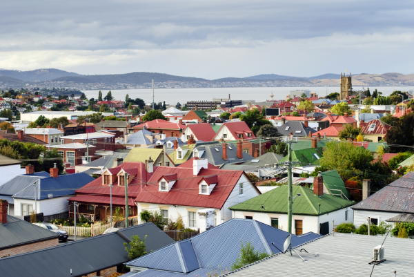 The rooftops of Hobart, Tasmania's Capital City