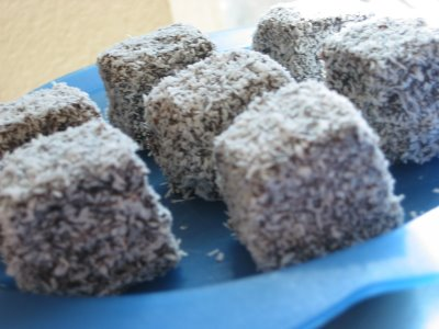 Lamingtons, a jam-filled wedge cake