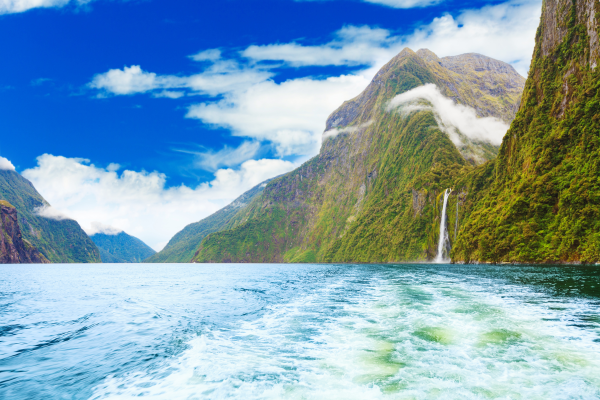 A waterfall at Milford Sound
