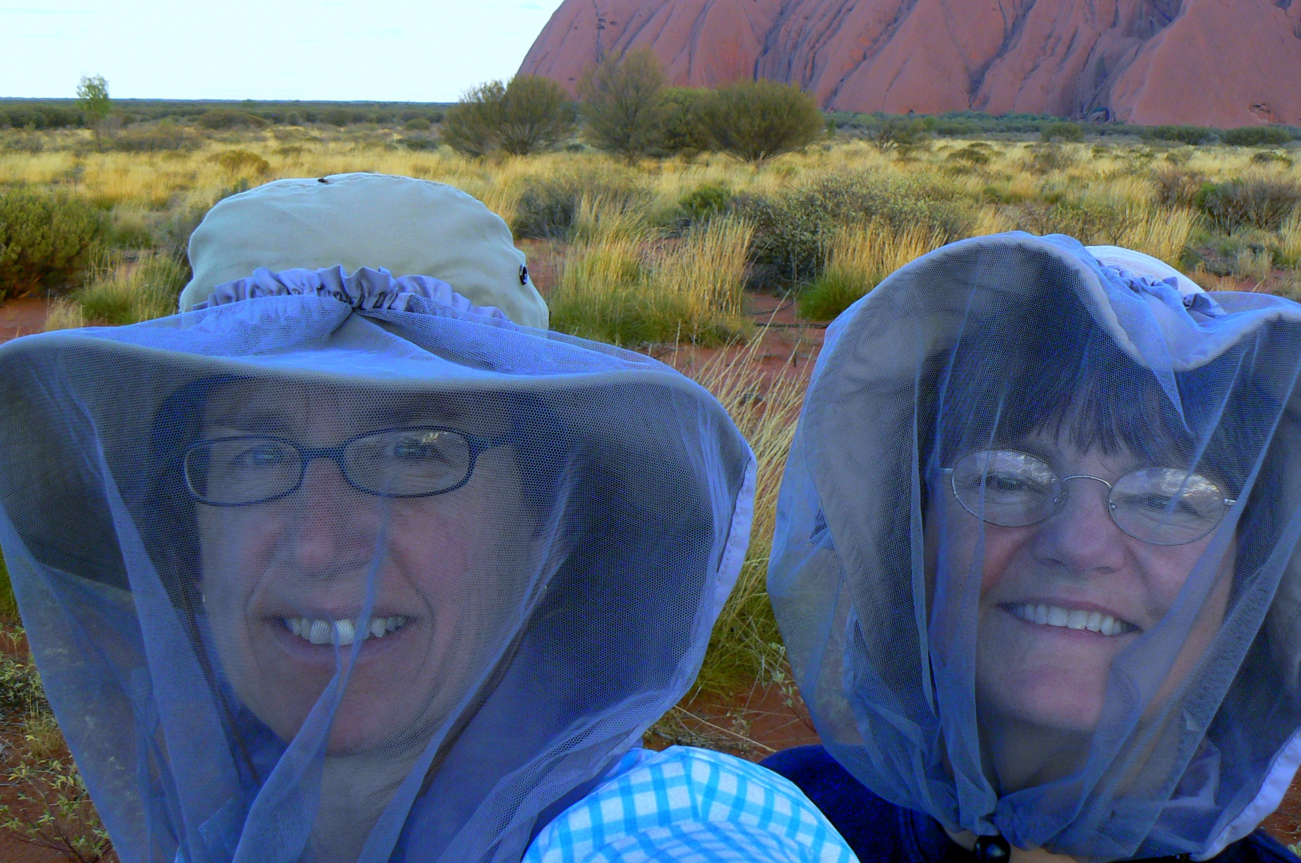 Wearing Netting at Uluru