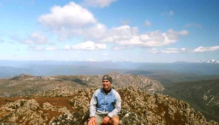 George H. Waxter, MD, atop Mount Roland in Tasmania