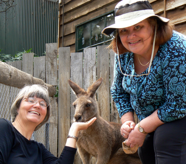 """Dr. Kathy Starkey, her sister, Norey Starkey Reger, and """"Roo"""""""