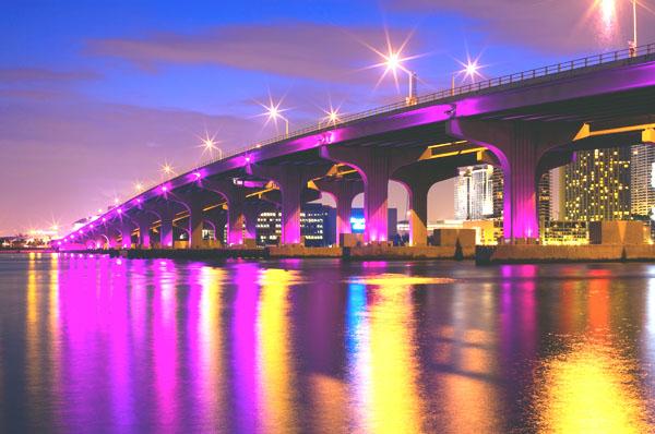 miami at night bridge thinkstock